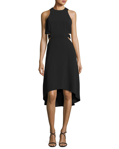 Halston Heritage Sleeveless Cutout Stretch Crepe Cocktail Dress,