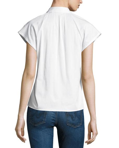 Marina Short-Sleeve Ruffled Top, White