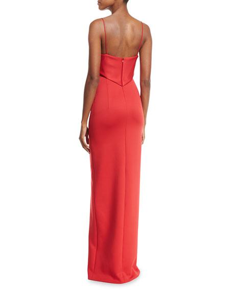 Bodhi Sleeveless Scuba Column Gown, Red