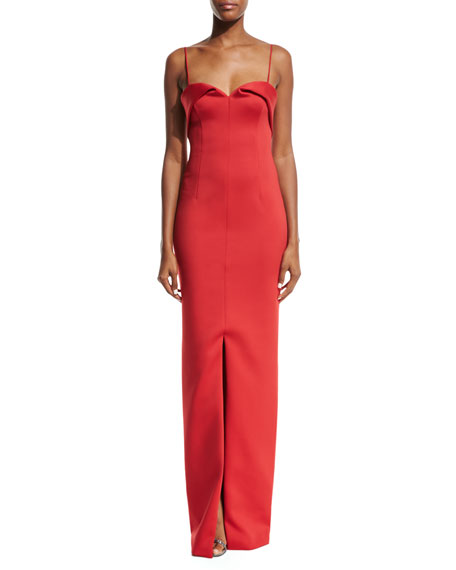 Black Halo Bodhi Sleeveless Scuba Column Gown, Red