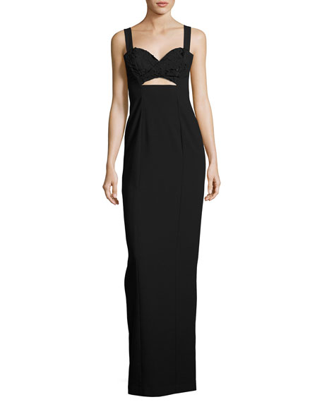 Rosalita Sleeveless Lace-Trim Column Gown, Black