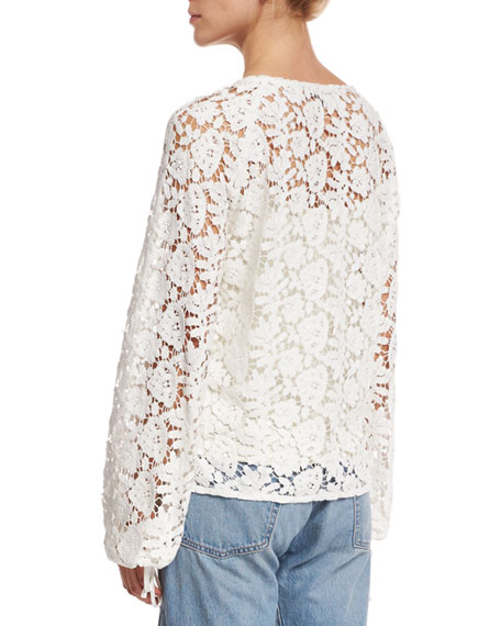 Chantalle Long-Sleeve Cotton Lace Top, Ivory
