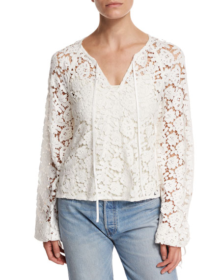 Elizabeth and James Chantalle Long-Sleeve Cotton Lace Top,