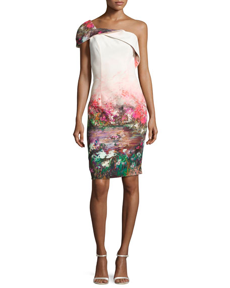 Black Halo Rochester One-Shoulder Floral Stretch Cocktail Dress,