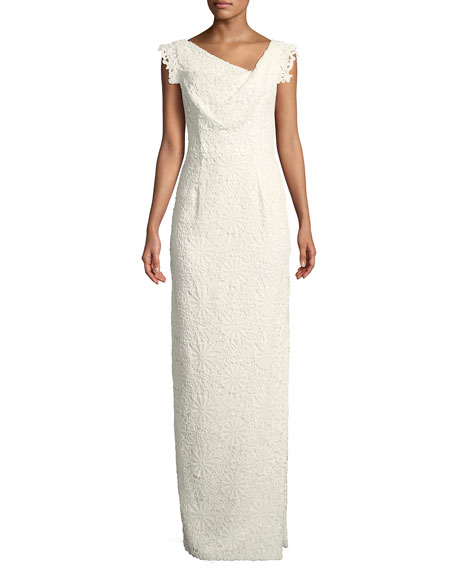 Black Halo Jackie Anniversary Lace Column Gown, White