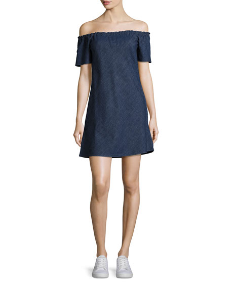 Harely Off-the-Shoulder Denim Dress, Indigo