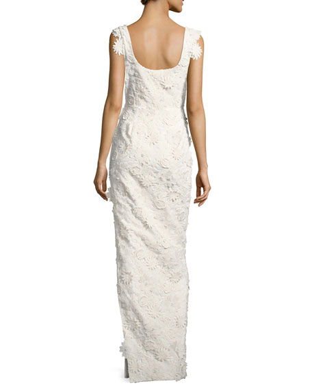 Jackie Anniversary Floral Lace Column Gown, White