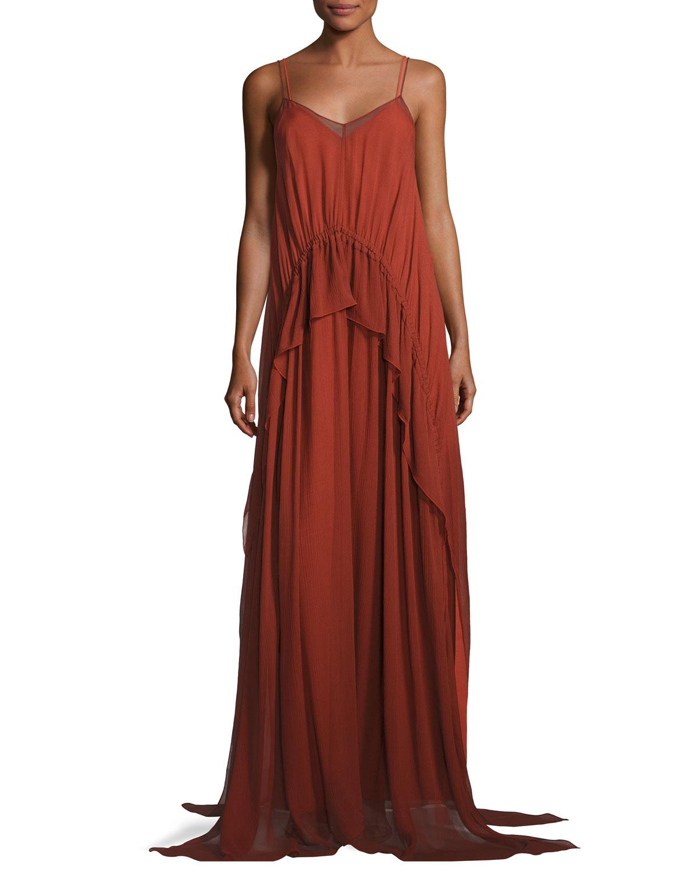 Catriona Sleeveless Silk Drawstring Ruffle Gown Brick