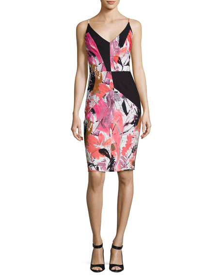 Black Halo Judy Floral Ponte Sheath Dress, Multicolor