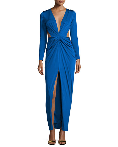 Mah Ready To Wear Scarlett Gathered-Front Gown W/Cutouts,