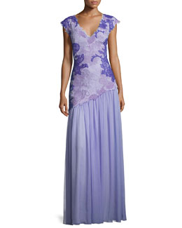 Cap-Sleeve Lace & Chiffon Gown, Purple