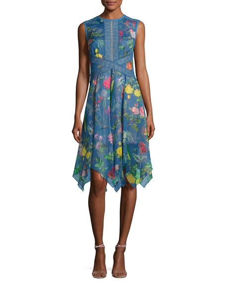 Tadashi Shoji Sleeveless Floral Chiffon Handkerchief Dress, Blue