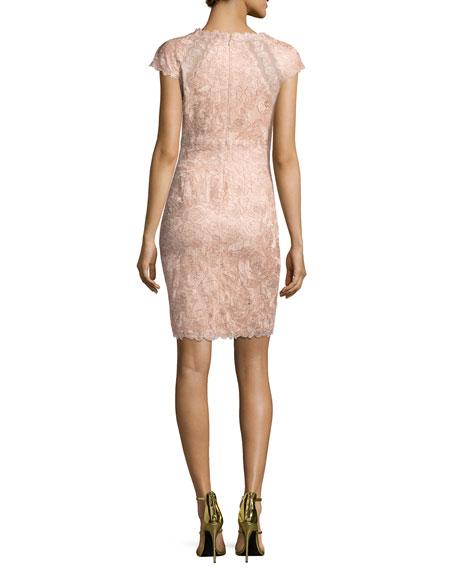 Cap-Sleeve Rose Lace Sheath Dress, Pink