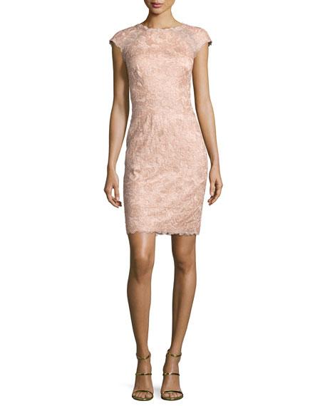 Tadashi Shoji Cap-Sleeve Rose Lace Sheath Dress, Pink