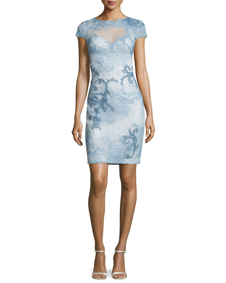 Cap-Sleeve Acanthus Lace Cocktail Sheath Dress, Blue