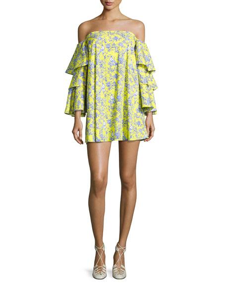 Carmen Tiered Ruffle Sleeve Mini Dress, Yellow Pattern