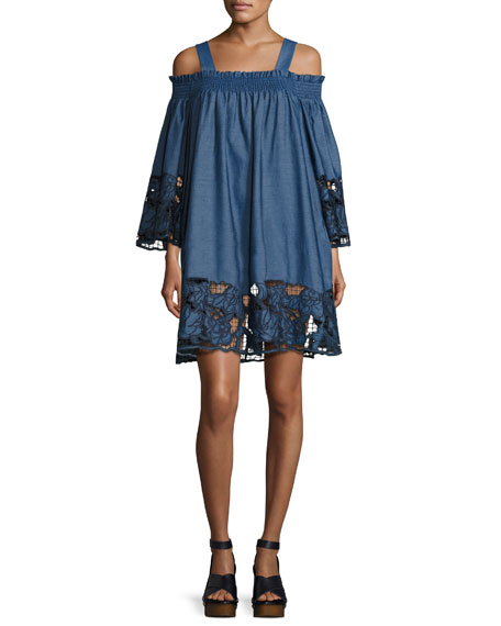 Kendall + Kylie Embroidered Off-the-Shoulder Chambray Dress,