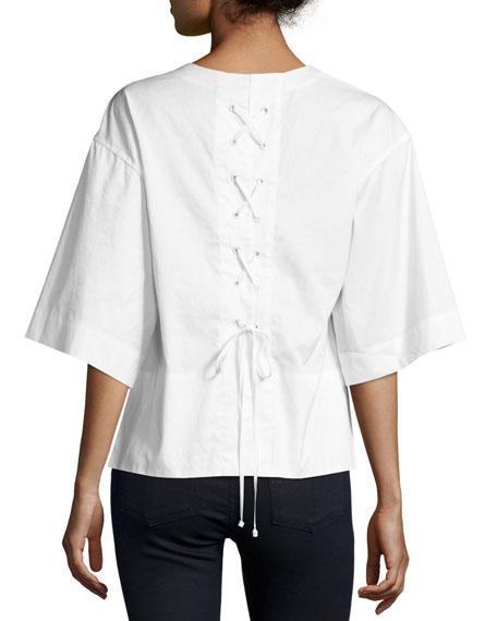 Boxy V-Neck Lace-Back Top, White