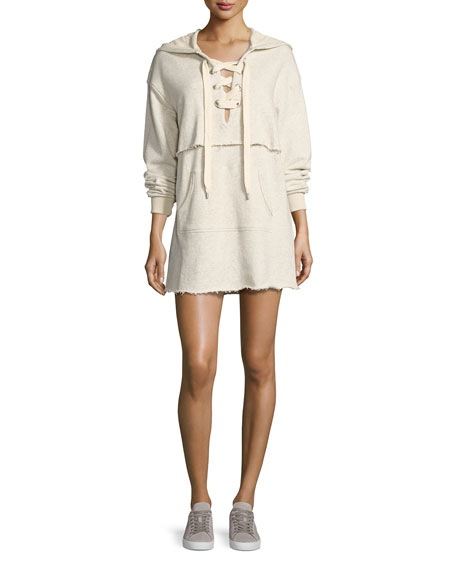 Lace-Up Sweatshirt Dress, Beige