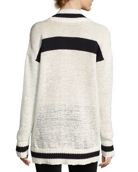 V-Neck Rugby Sweater, White