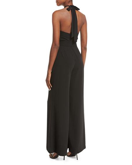 Belted Crepe Halter Jumpsuit, Black