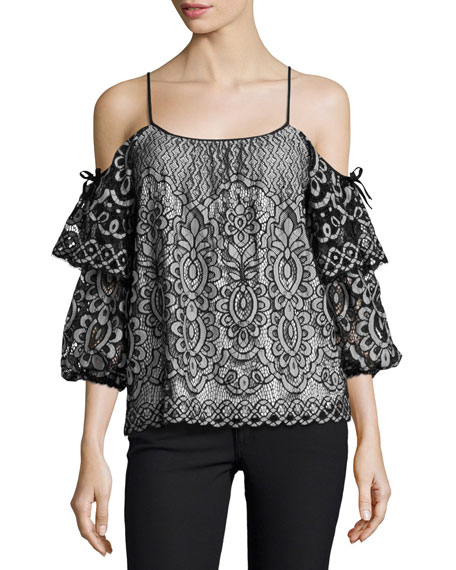 Parker Nikita Cold-Shoulder Lace Blouse, Black