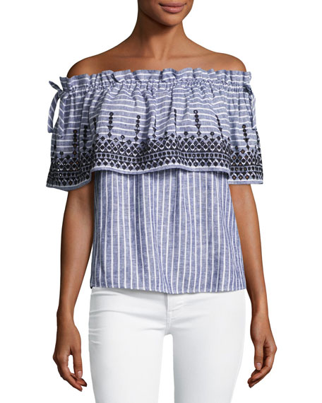Parker Cassandra Off-the-Shoulder Striped Chambray Top,