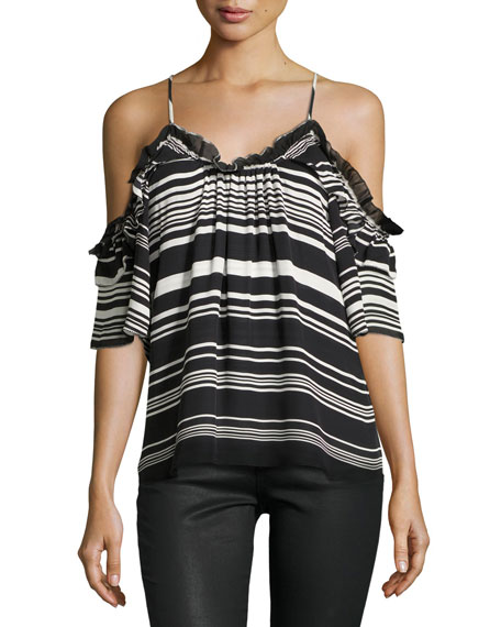 Parker Gabe Striped Cold-Shoulder Top, Black/White