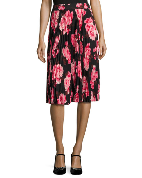 kate spade new york rosa floral pleated chiffon skirt, multicolor
