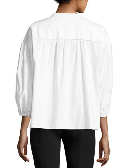 Bette Puff-Sleeve Cotton Shirt, White