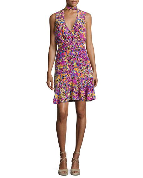 Saloni Fleur Choker Floral-Print Dress, Multicolor