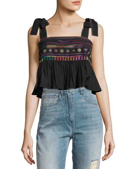 Jools Ruffle Embroidered Crop Top, Black