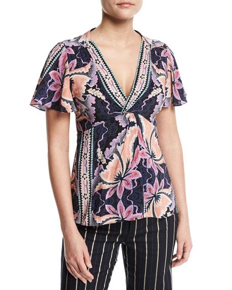 Venus Short-Sleeve Floral Silk Top, Black/Multicolor