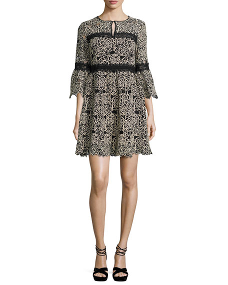 Nanette Lepore 3/4-Sleeve Embroidered Floral Mini Dress,