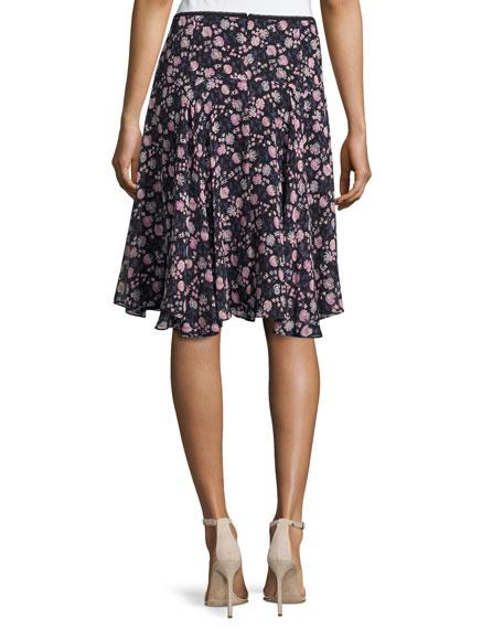 Asymmetric Floral Silk Skirt, Black/Multicolor
