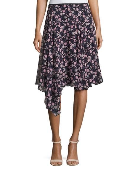 Nanette Lepore Asymmetric Floral Silk Skirt, Black/Multicolor