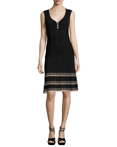 Nanette Lepore Sleeveless Ribbed V-Neck Dress, Black