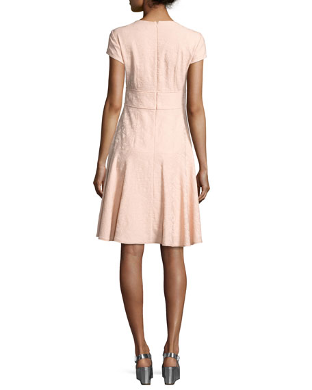 Cap-Sleeve Paisley Jacquard Dress, Pink