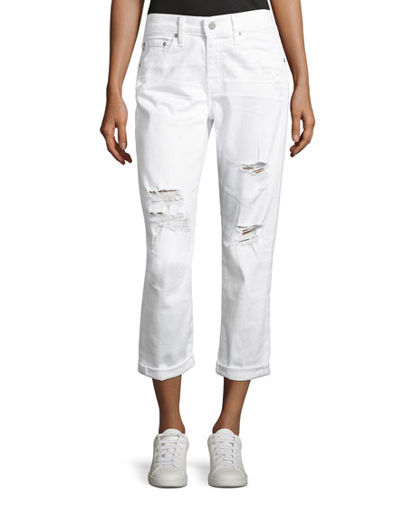 AG Ex-Boyfriend Slim Denim Jeans, White
