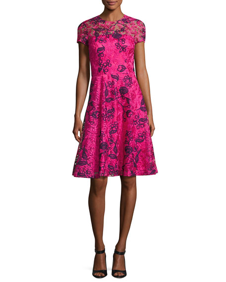 David Meister Short-Sleeve Floral Lace Cocktail Dress, Pink/Blue