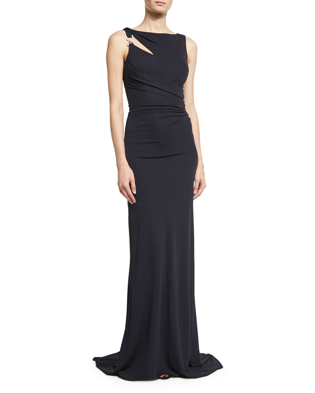 David Meister Sleeveless Jersey Column Gown, Dark Navy   Neiman Marcus
