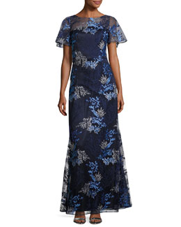 Short-Sleeve Embroidered Tulle Gown, Blue/Gray
