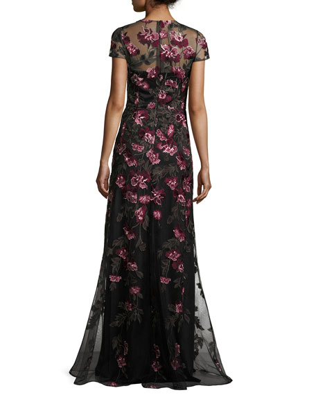 Cap-Sleeve Floral Tulle Gown, Pink/Gold/Black