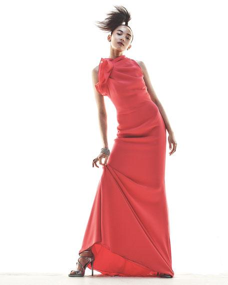 Ruffle-Neck Sleeveless Mermaid Gown, Melon