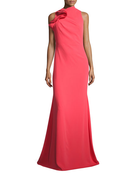 Badgley Mischka Ruffle-Neck Sleeveless Mermaid Gown, Melon