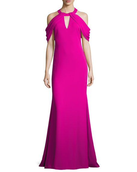 Draped-Shoulder Stretch Crepe Gown, Magenta