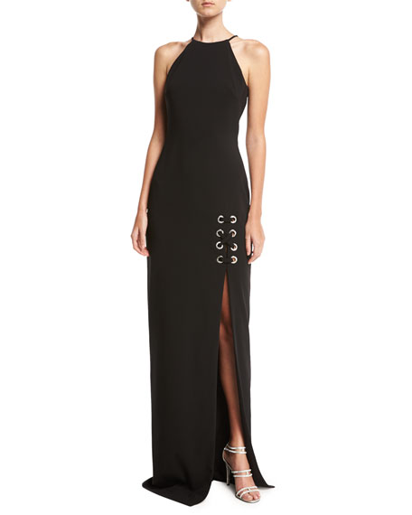 Badgley Mischka Sleeveless Laced Stretch Crepe Column Gown,