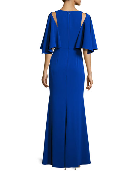Cape-Sleeve Embellished Stretch Crepe Gown, Blue