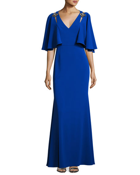Badgley Mischka Cape-Sleeve Embellished Stretch Crepe Gown, Blue