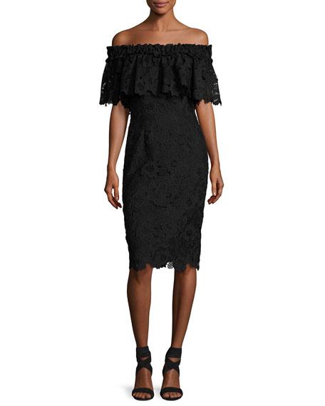 Off-The-Shoulder Floral Lace Popover Cocktail Dress, Black